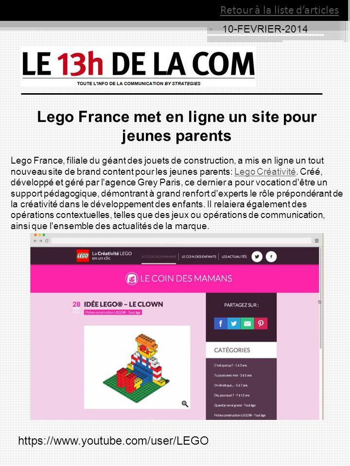 Lego France met en ligne un site pour jeunes parents