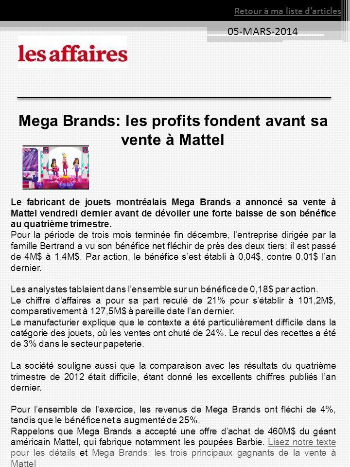 Mega Brands: les profits fondent avant sa vente à Mattel