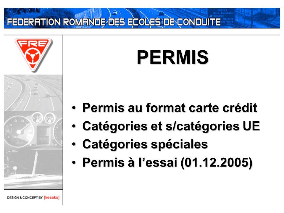 PERMIS Permis au format carte crédit Catégories et s/catégories UE