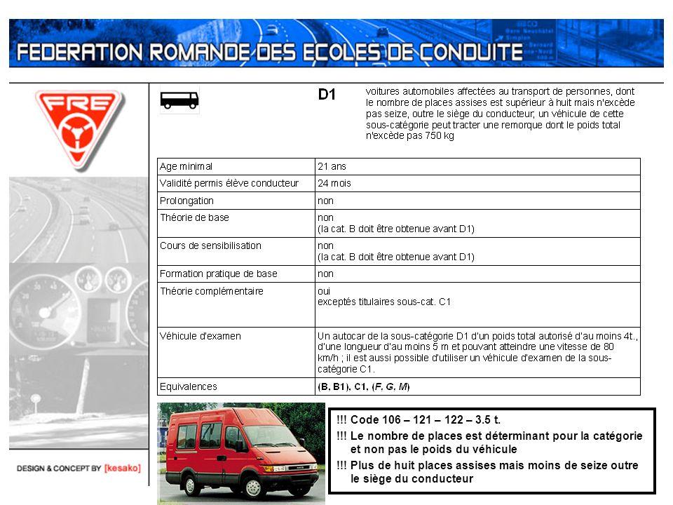 !!! Code 106 – 121 – 122 – 3.5 t. !!! Le nombre de places est déterminant pour la catégorie et non pas le poids du véhicule.