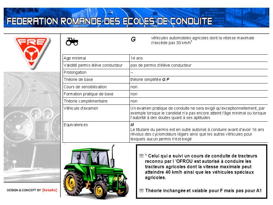 !!! 1 Celui qui a suivi un cours de conduite de tracteurs reconnu par l 'OFROU est autorisé à conduire les tracteurs agricoles dont la vitesse maximale peut atteindre 40 km/h ainsi que les véhicules spéciaux agricoles.