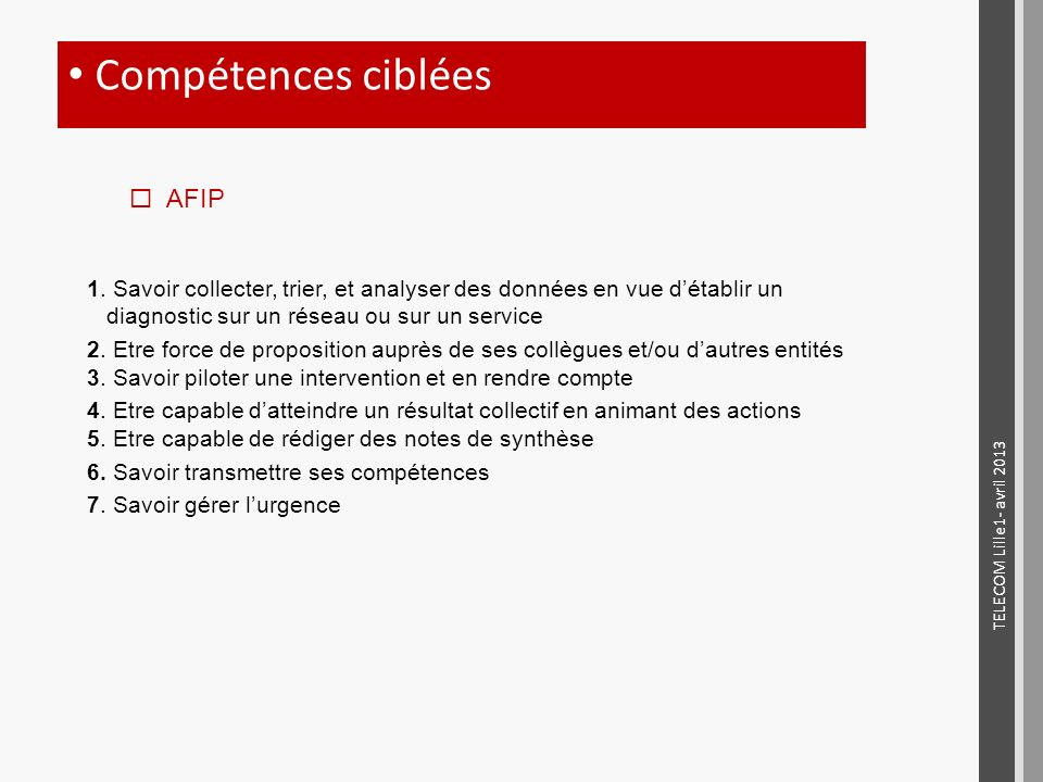 Compétences ciblées AFIP