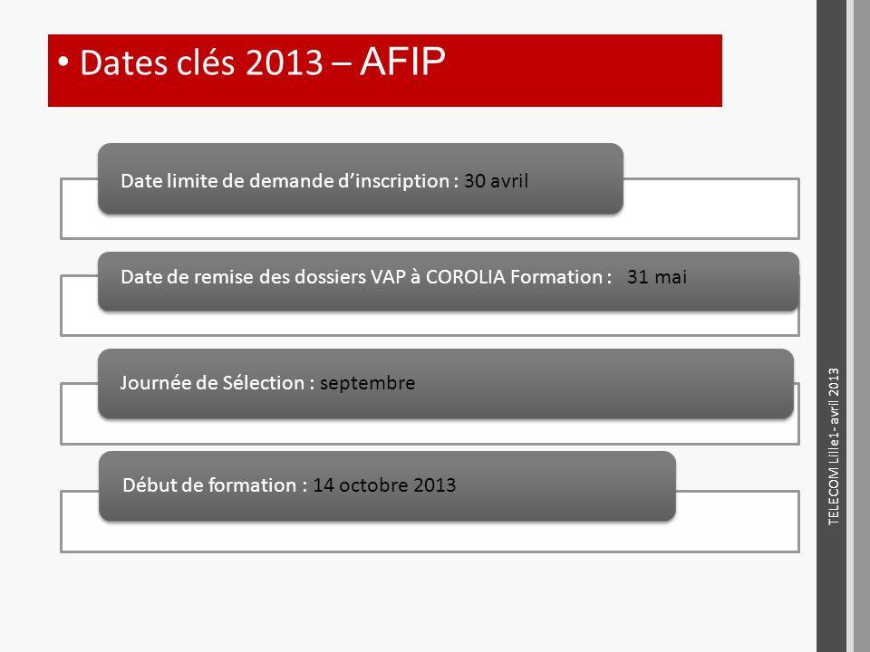 Dates clés 2013 – AFIP Date limite de demande d'inscription : 30 avril. Date de remise des dossiers VAP à COROLIA Formation : 31 mai.