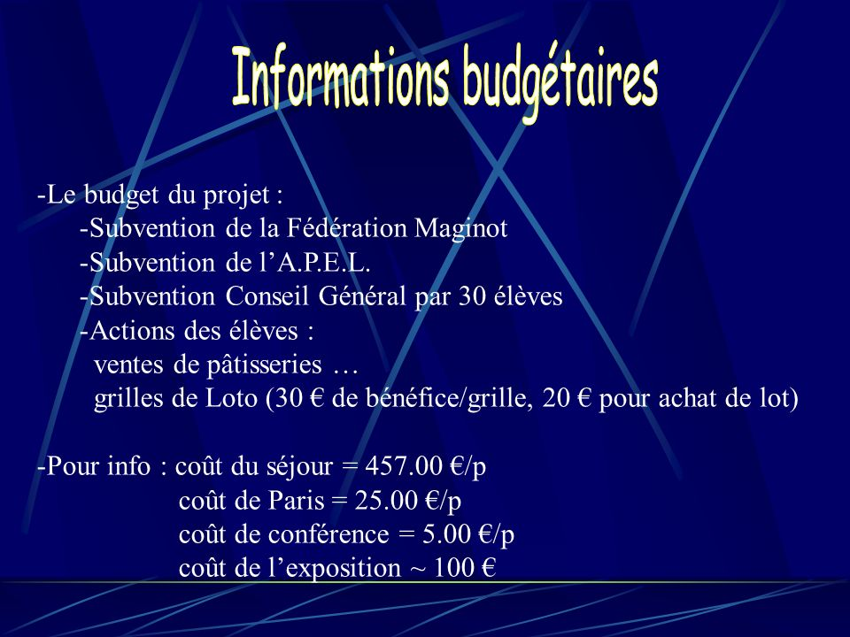 Informations budgétaires