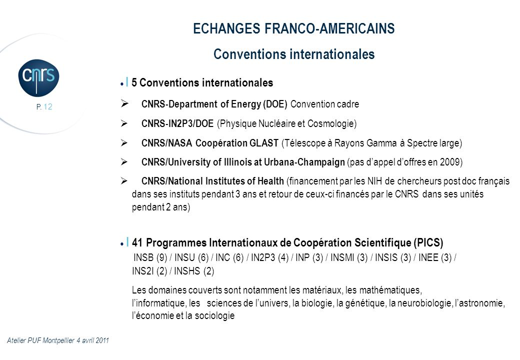 ECHANGES FRANCO-AMERICAINS Conventions internationales