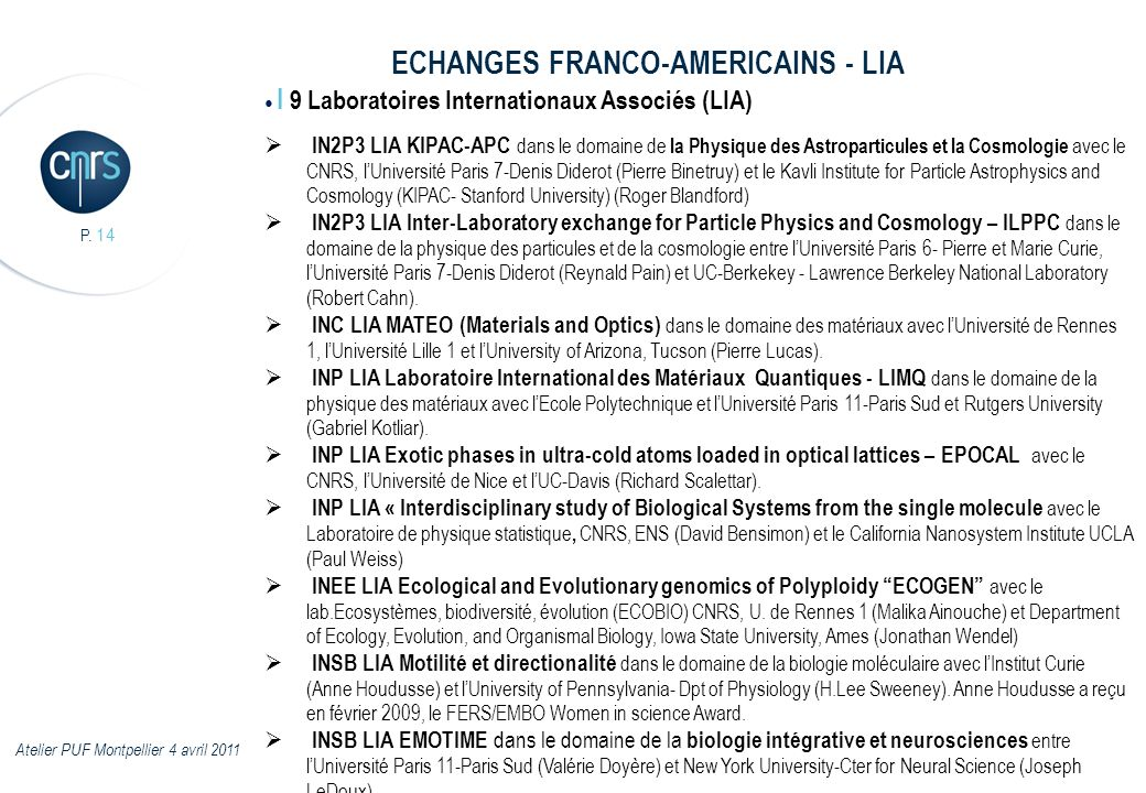 ECHANGES FRANCO-AMERICAINS - LIA