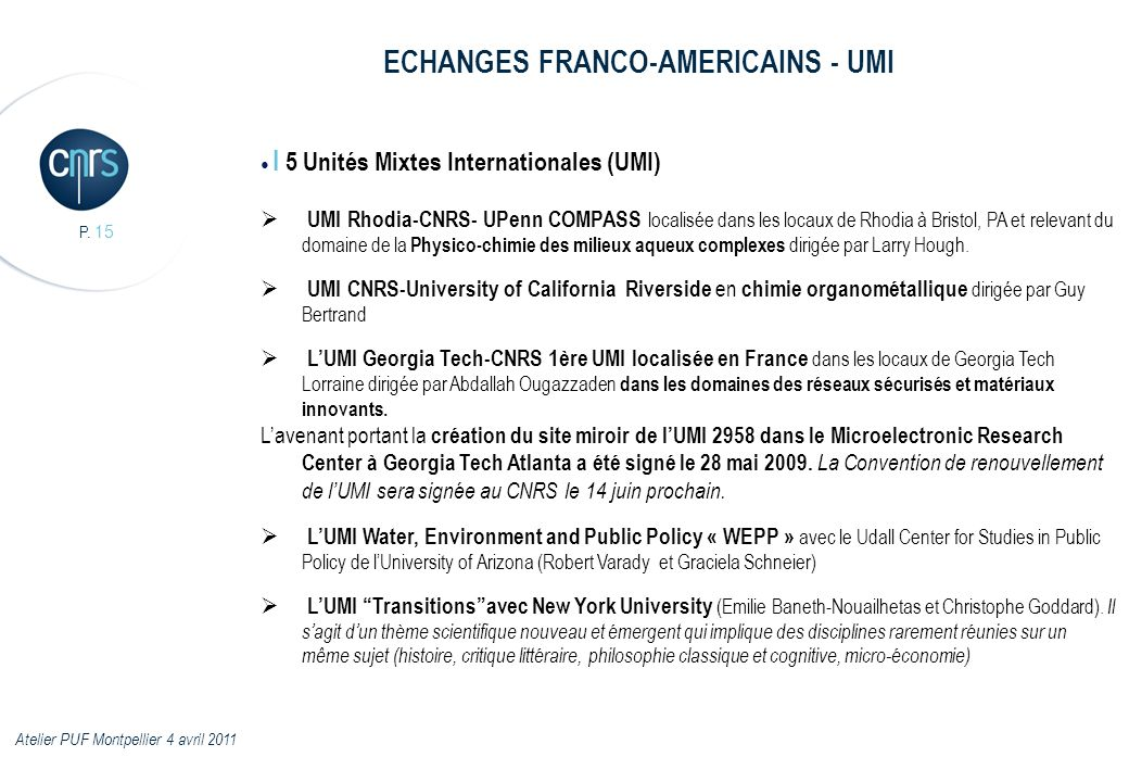 ECHANGES FRANCO-AMERICAINS - UMI