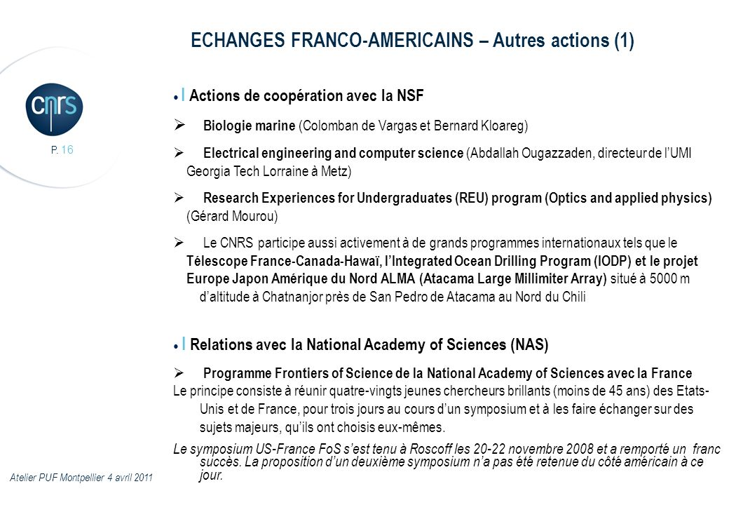 ECHANGES FRANCO-AMERICAINS – Autres actions (1)