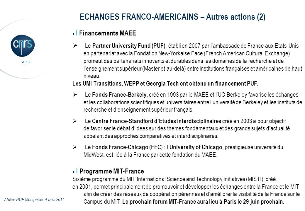 ECHANGES FRANCO-AMERICAINS – Autres actions (2)