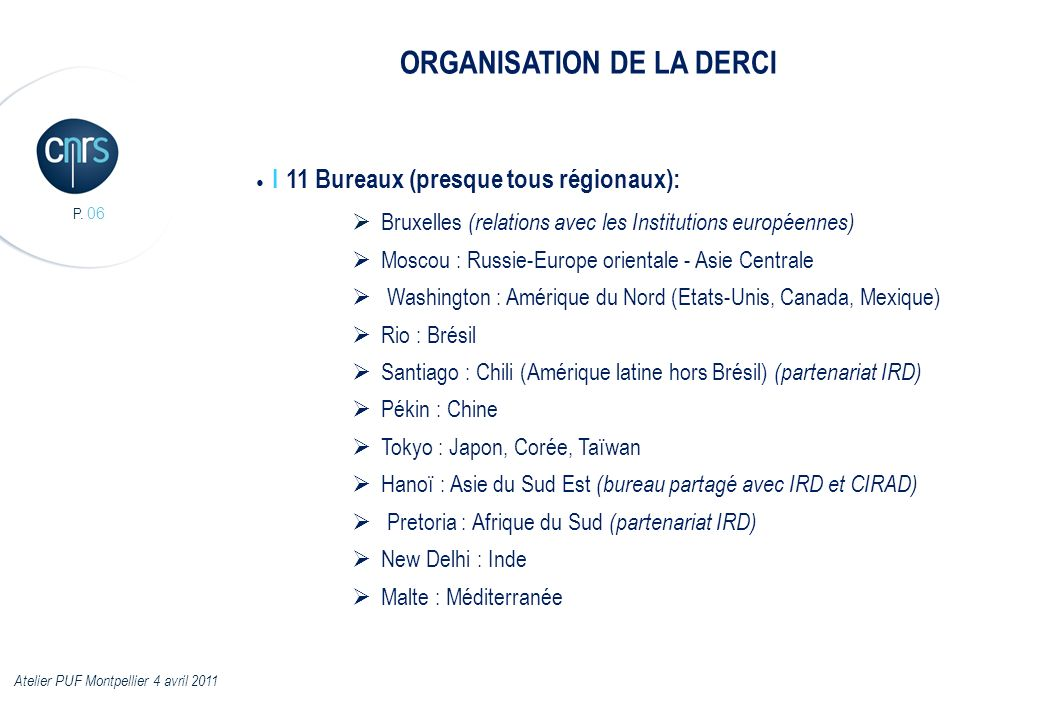ORGANISATION DE LA DERCI