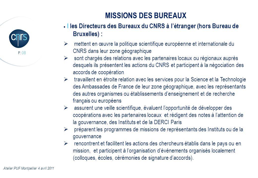 MISSIONS DES BUREAUX ● I les Directeurs des Bureaux du CNRS à l'étranger (hors Bureau de Bruxelles) :