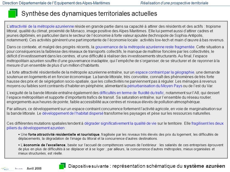 Synthèse des dynamiques territoriales actuelles