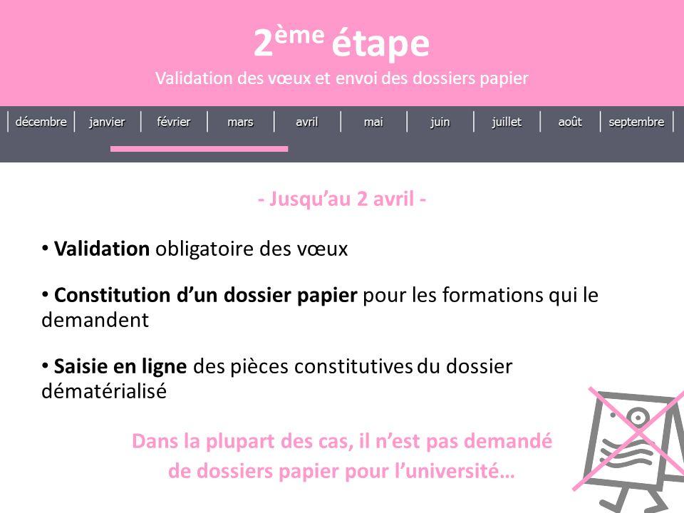 2ème étape - Jusqu'au 2 avril - Validation obligatoire des vœux