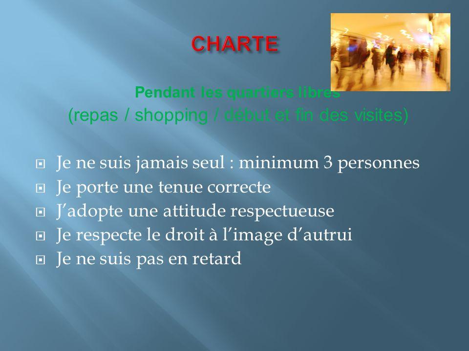 CHARTE (repas / shopping / début et fin des visites)