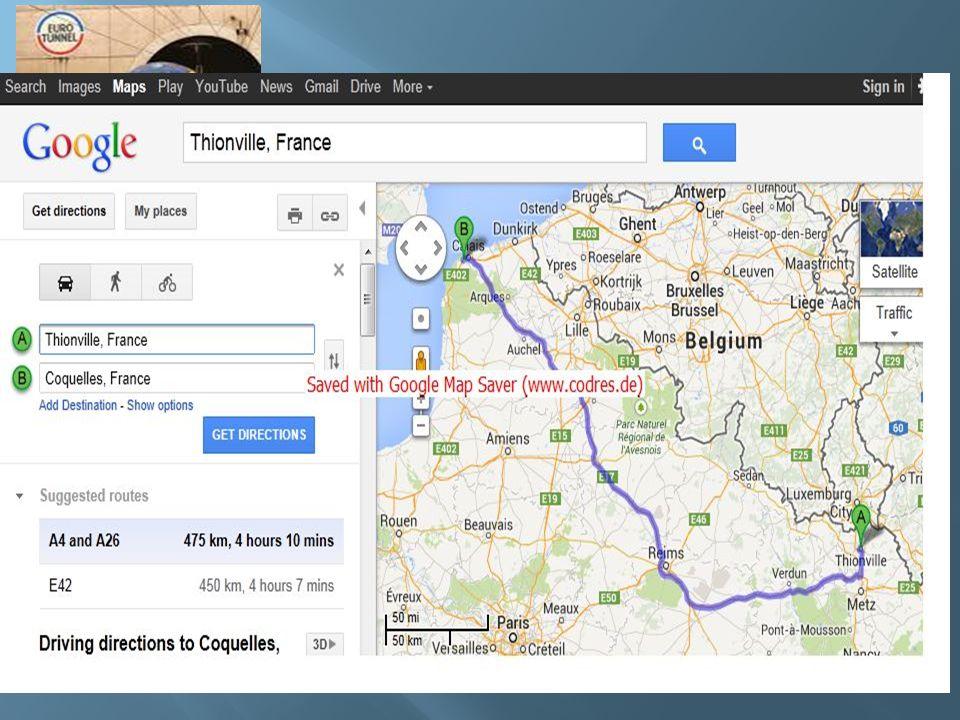 JOUR 2 : dimanche 6 avril Itinéraire : Thionville – Coquelles (450kms)