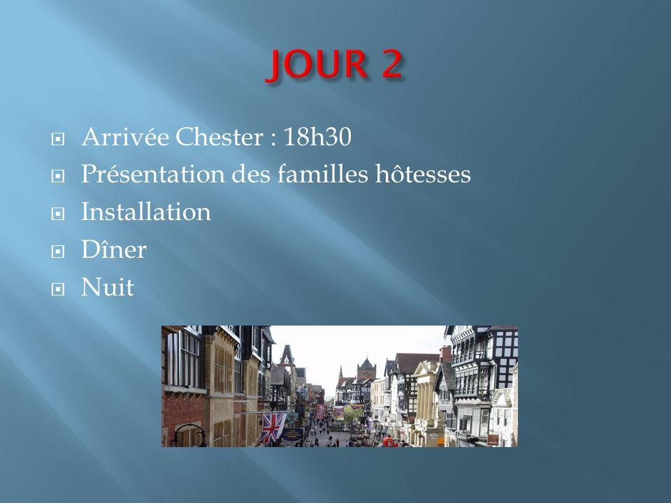 JOUR 2 Arrivée Chester : 18h30 Présentation des familles hôtesses