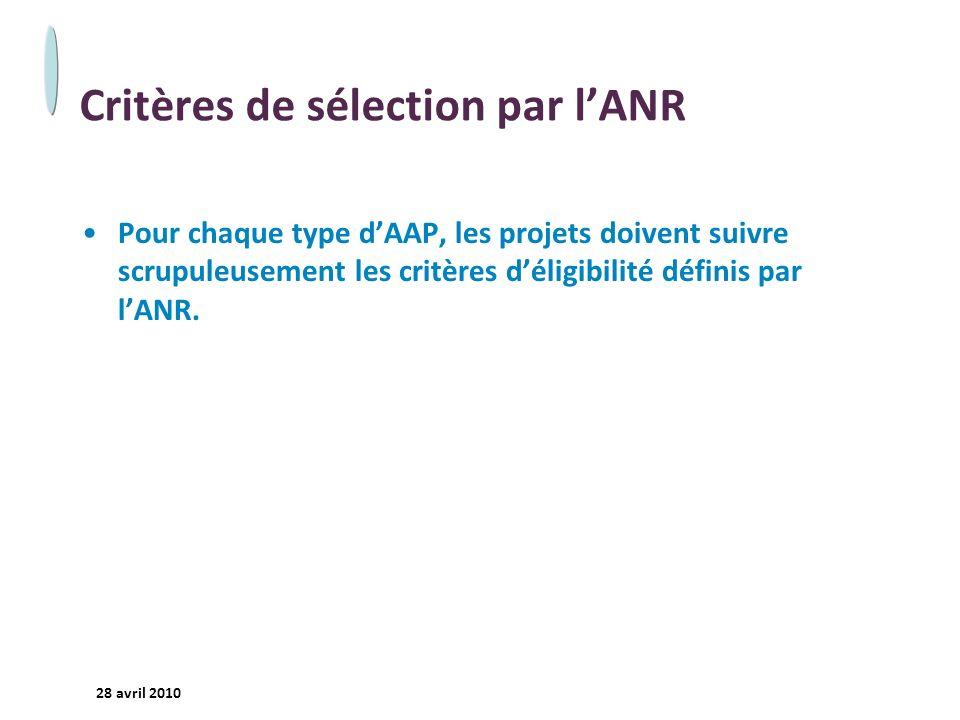 Critères de sélection par l'ANR