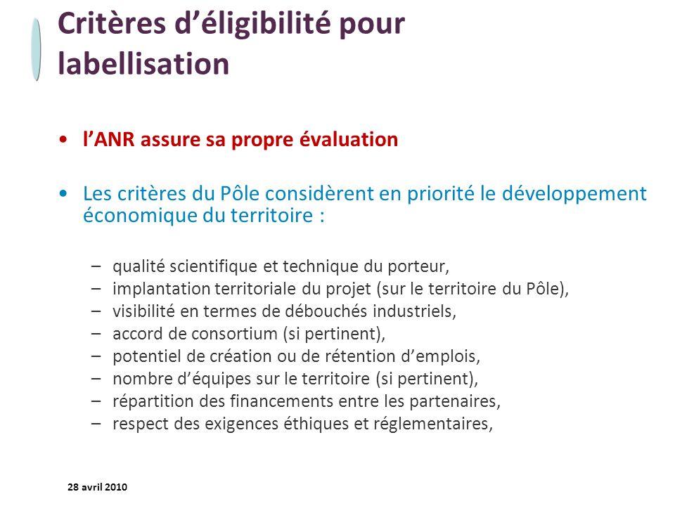 Critères d'éligibilité pour labellisation