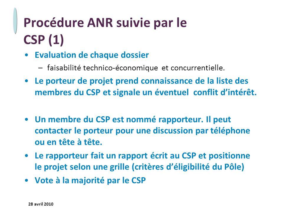 Procédure ANR suivie par le CSP (1)