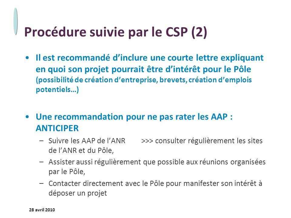 Procédure suivie par le CSP (2)