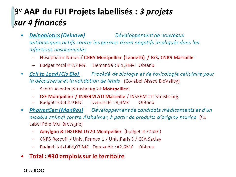 9e AAP du FUI Projets labellisés : 3 projets sur 4 financés