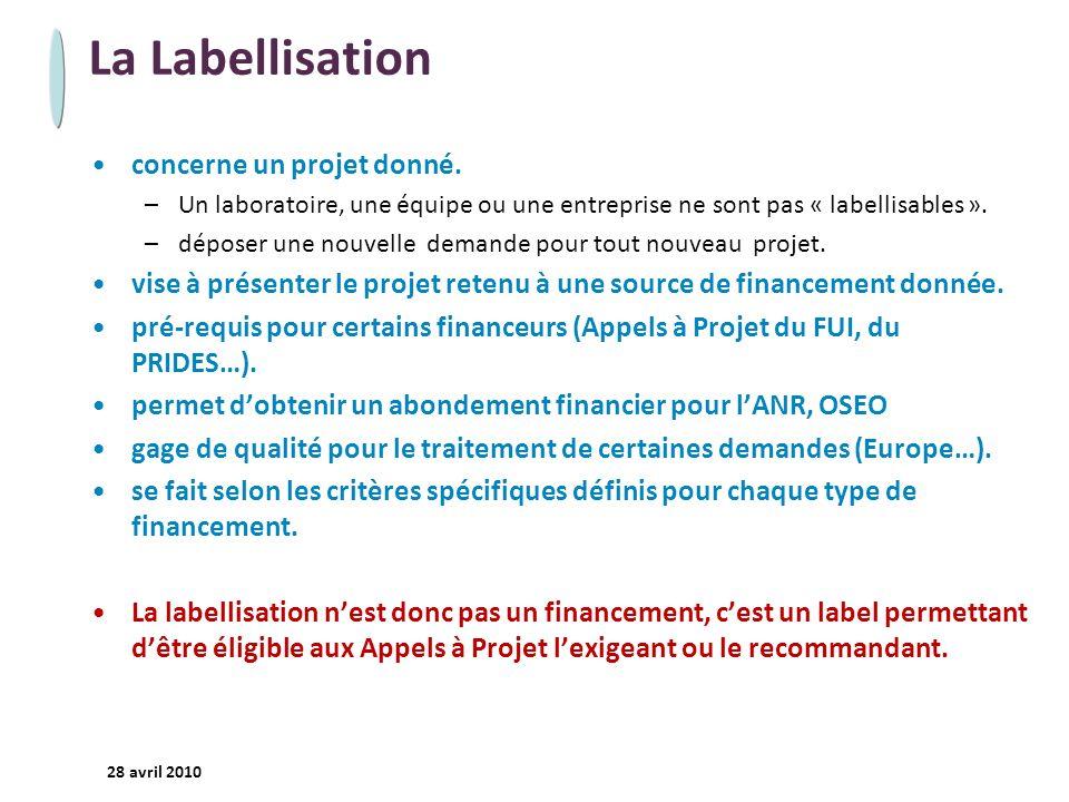 La Labellisation concerne un projet donné.