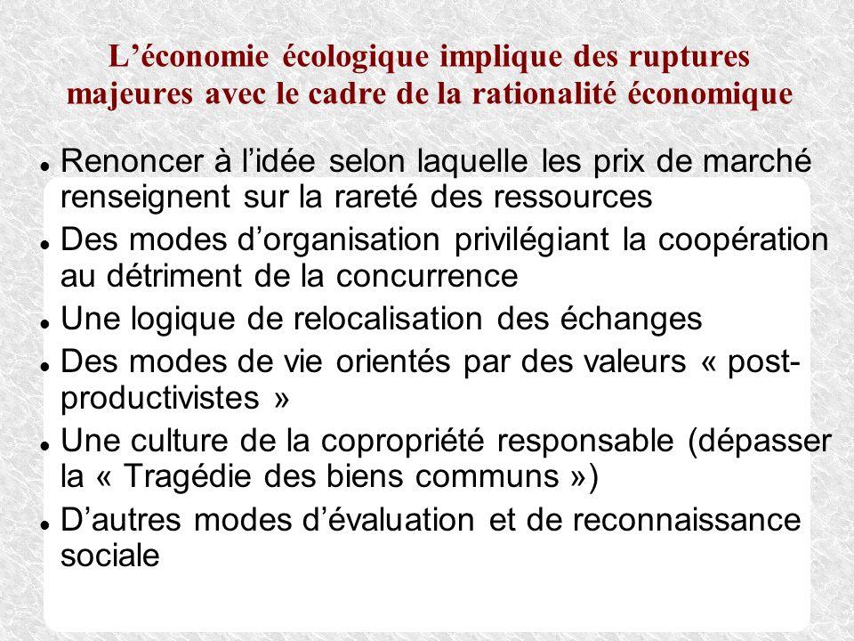 L'économie écologique implique des ruptures majeures avec le cadre de la rationalité économique