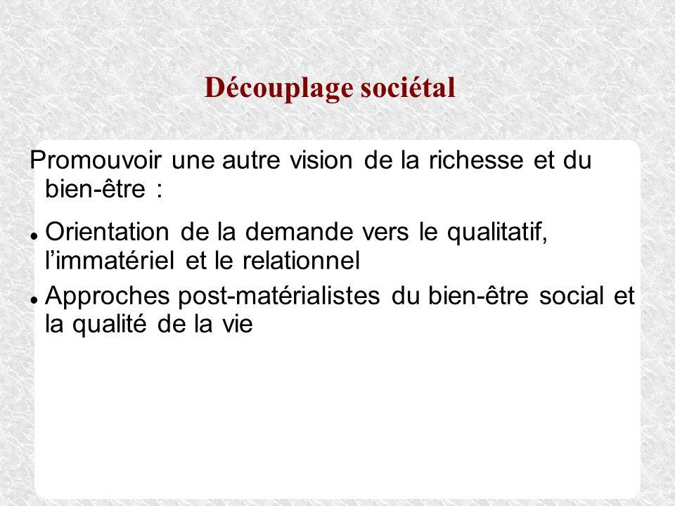 Découplage sociétal Promouvoir une autre vision de la richesse et du bien-être :