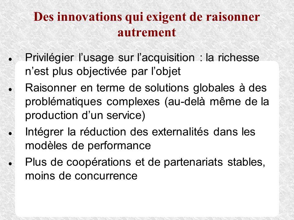 Des innovations qui exigent de raisonner autrement