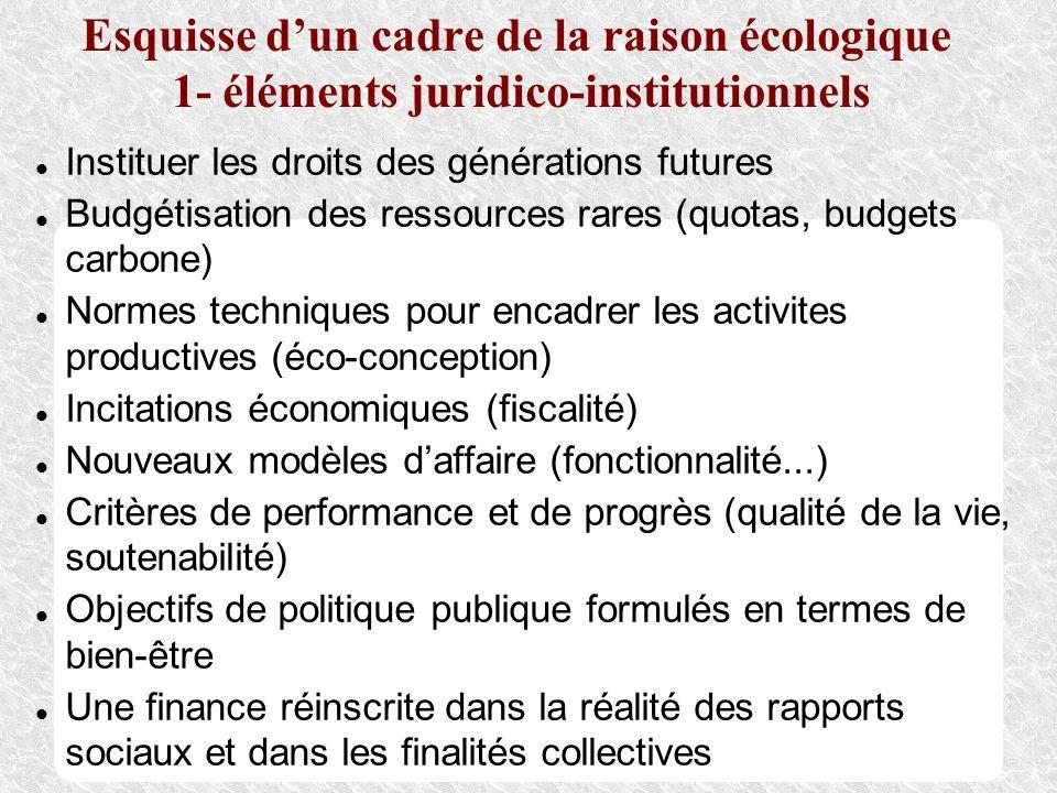 Esquisse d'un cadre de la raison écologique 1- éléments juridico-institutionnels
