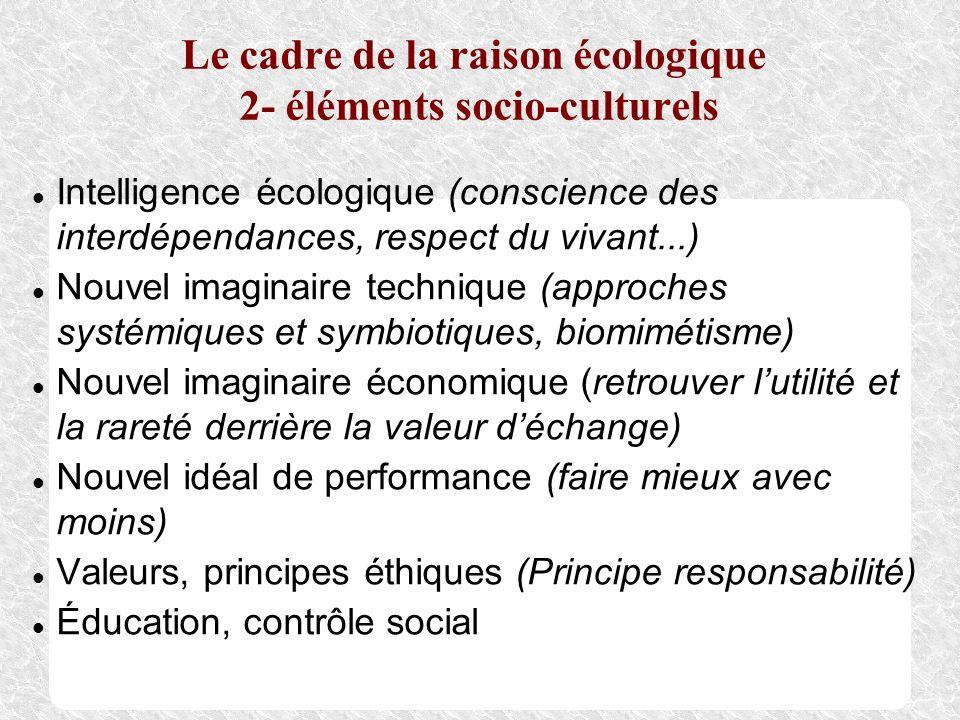 Le cadre de la raison écologique 2- éléments socio-culturels