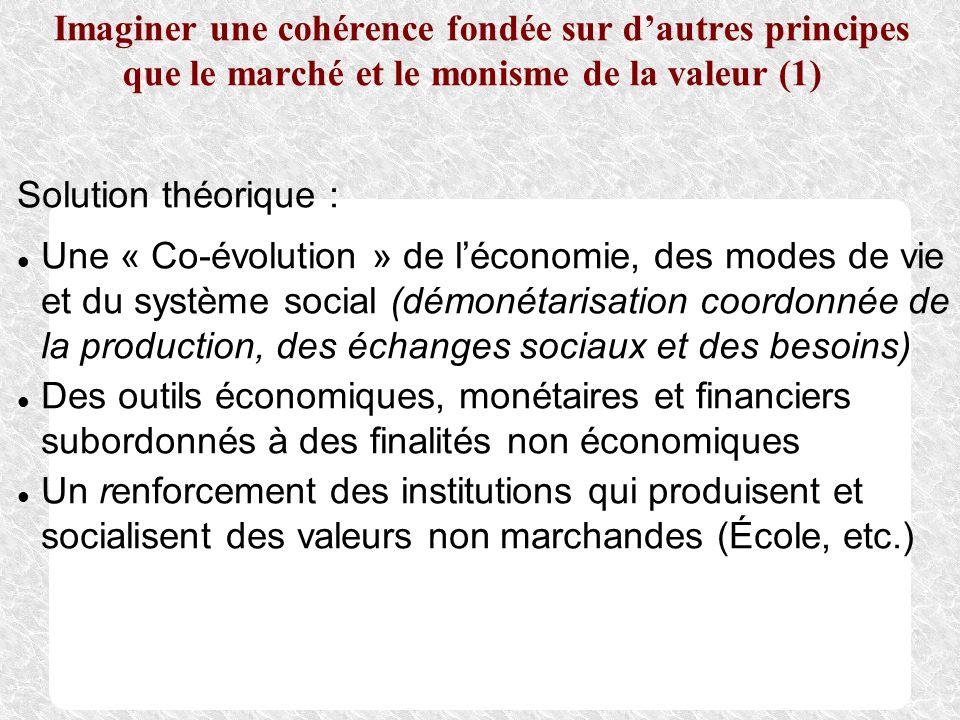 Imaginer une cohérence fondée sur d'autres principes que le marché et le monisme de la valeur (1)