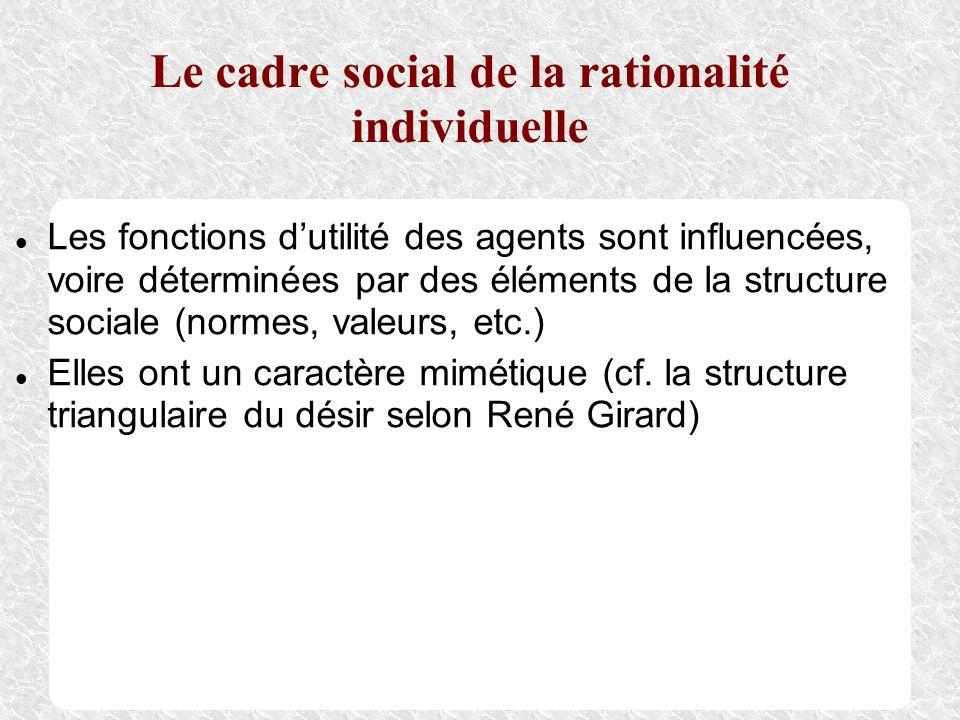 Le cadre social de la rationalité individuelle