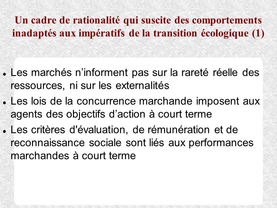 Un cadre de rationalité qui suscite des comportements inadaptés aux impératifs de la transition écologique (1)