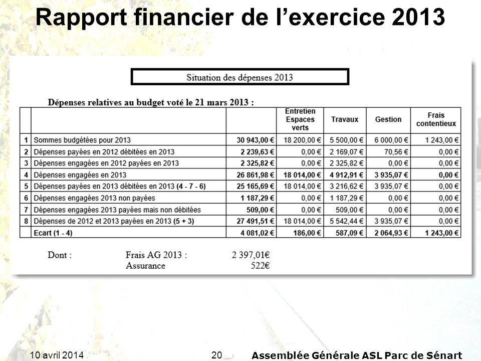Rapport financier de l'exercice 2013