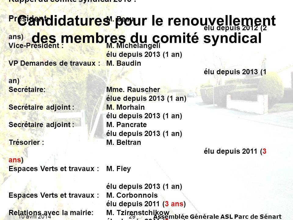 Candidatures pour le renouvellement des membres du comité syndical