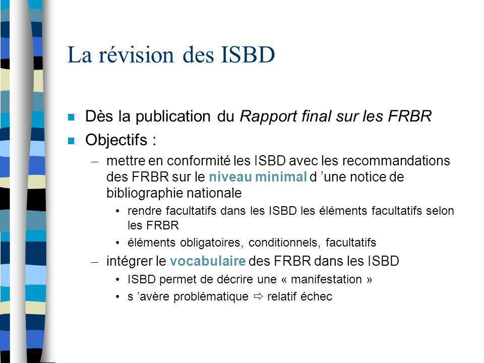 La révision des ISBD Dès la publication du Rapport final sur les FRBR