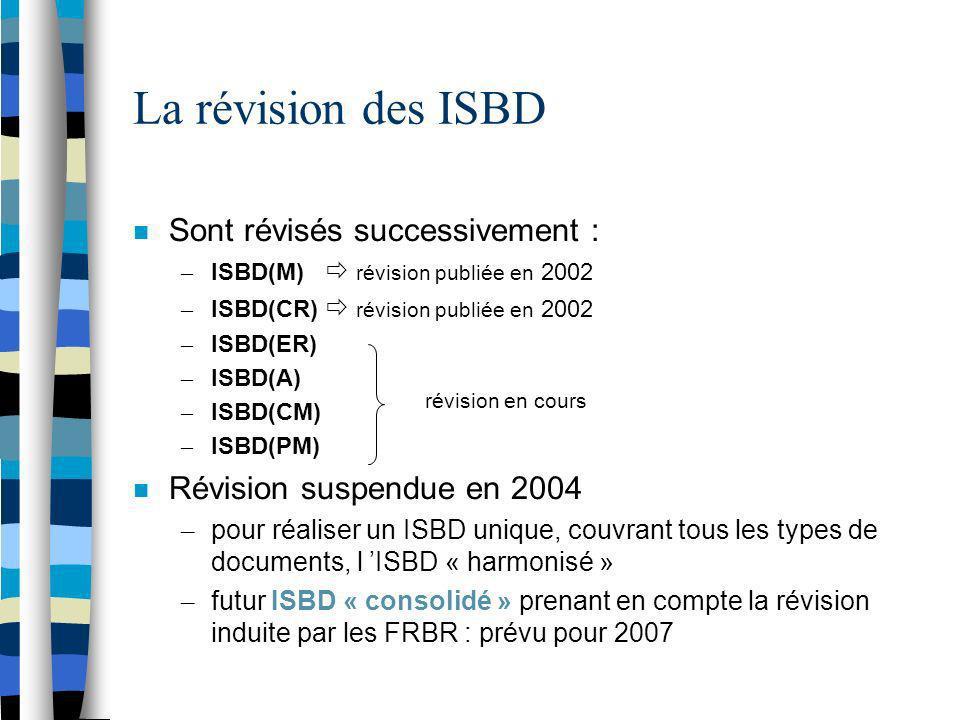 La révision des ISBD Sont révisés successivement :