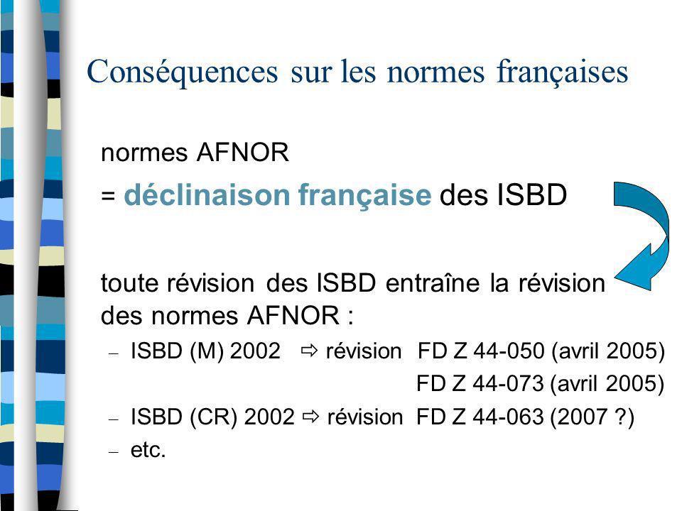 Conséquences sur les normes françaises