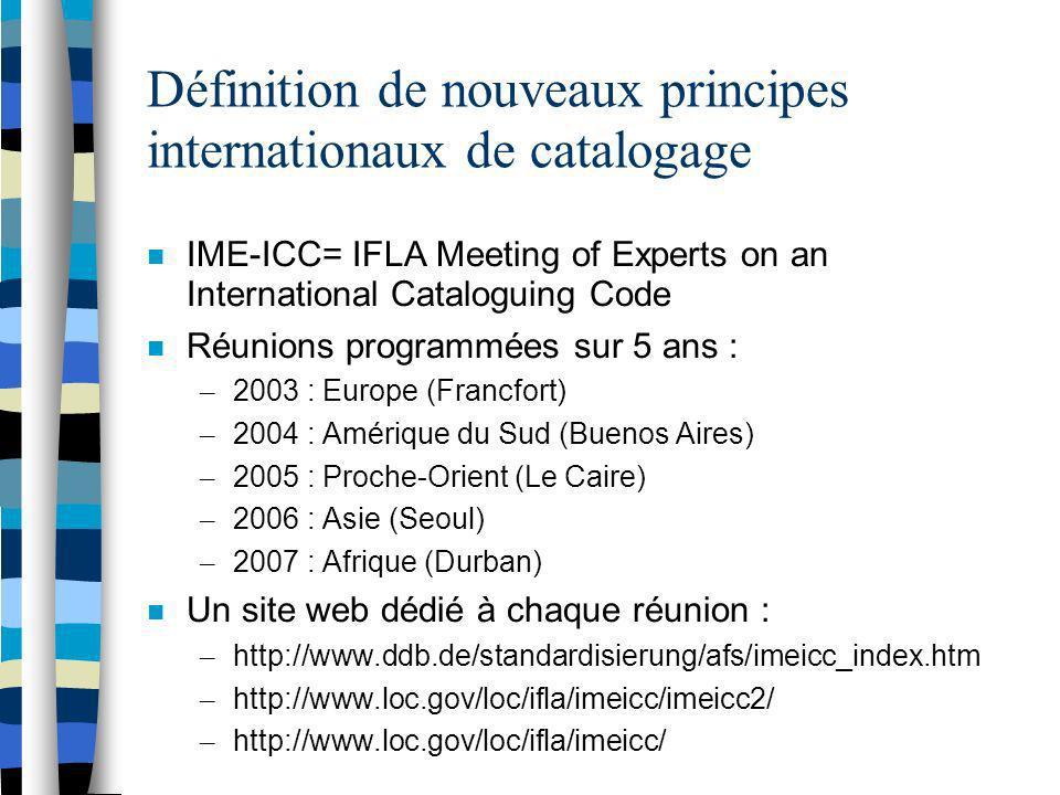 Définition de nouveaux principes internationaux de catalogage
