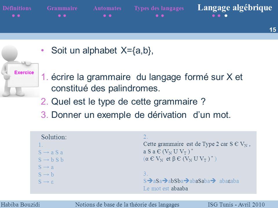 Soit un alphabet X={a,b},
