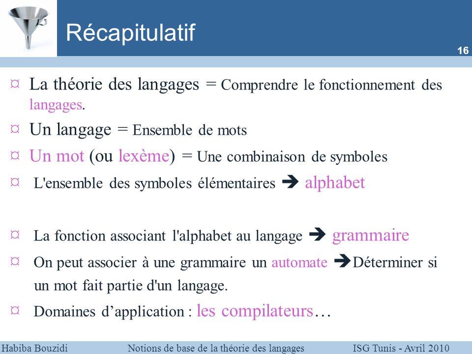 Récapitulatif 16. La théorie des langages = Comprendre le fonctionnement des langages. Un langage = Ensemble de mots.