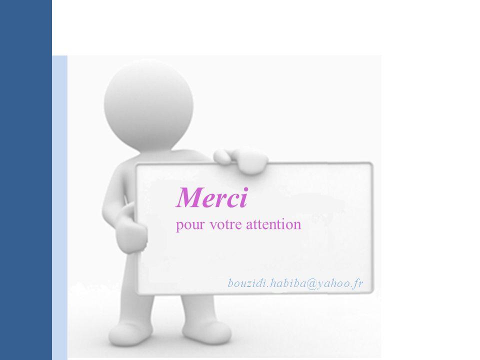 Merci pour votre attention bouzidi.habiba@yahoo.fr