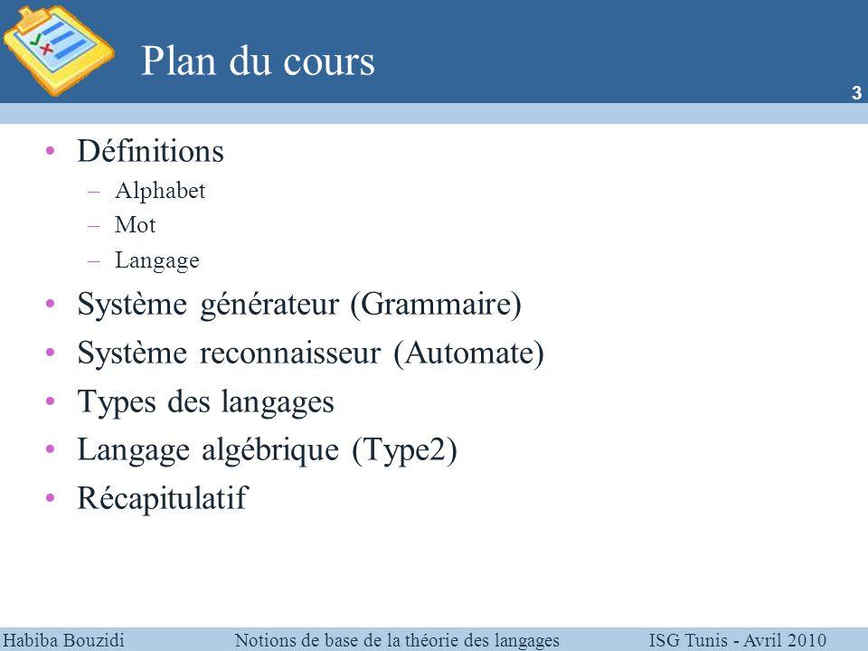 Plan du cours Définitions Système générateur (Grammaire)