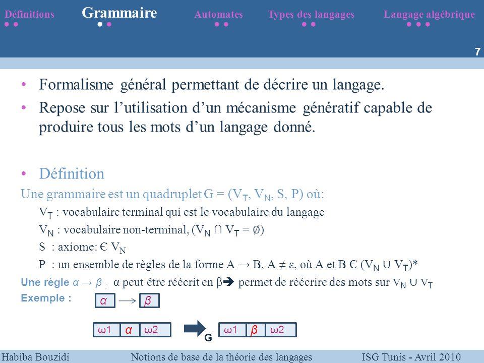 Formalisme général permettant de décrire un langage.
