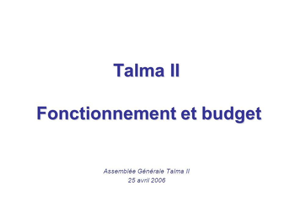 Talma II Fonctionnement et budget