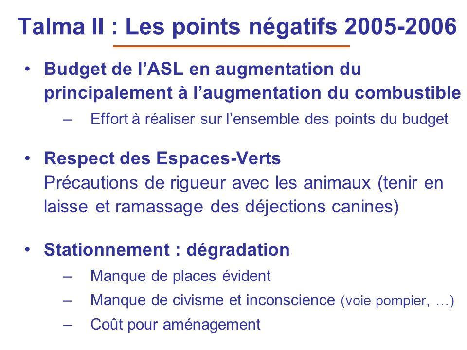 Talma II : Les points négatifs 2005-2006