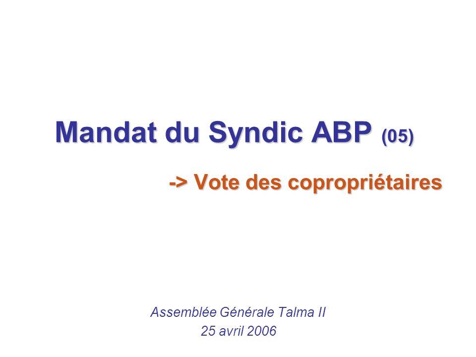 Mandat du Syndic ABP (05) -> Vote des copropriétaires