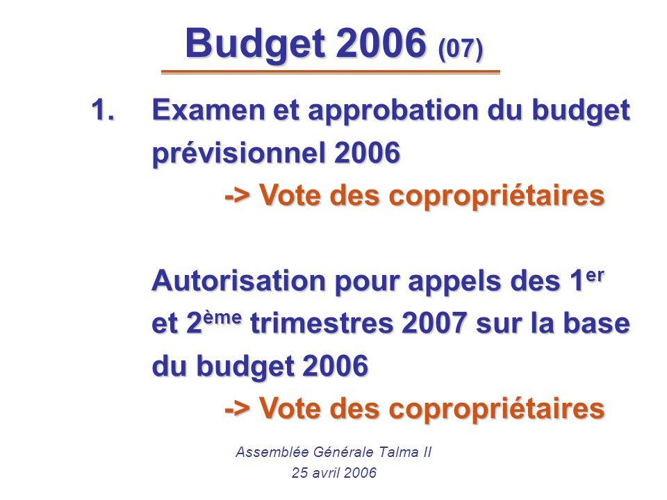 Assemblée Générale Talma II 25 avril 2006