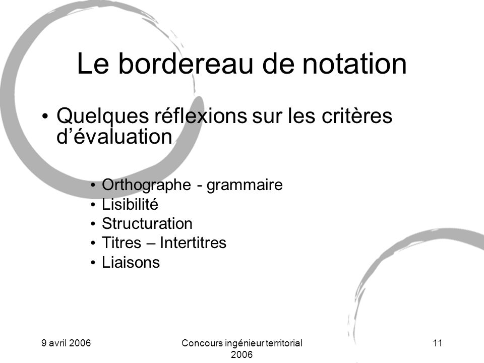 Le bordereau de notation